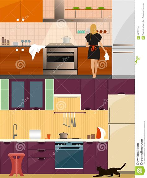 design elements creating style through kitchen kitchen interior with furniture in flat style design