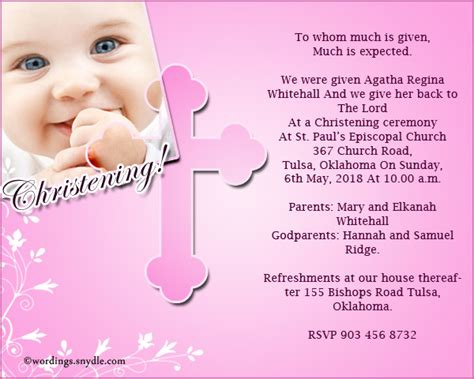 christening invitation wording samples wordings and messages