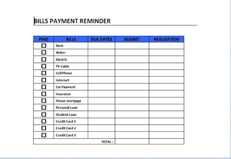 bill payment template 5 best images of free printable bill payment template