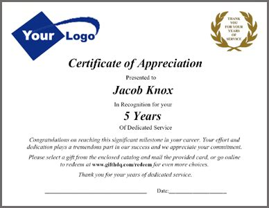 Employee Service Awards Packets And Letters Customizing Options Service Award Certificate Template