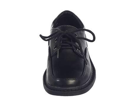 boys black lace up matte dress shoes