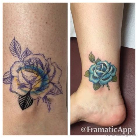 blue rose tattoo on foot 12 stunning blue tattoos on ankle