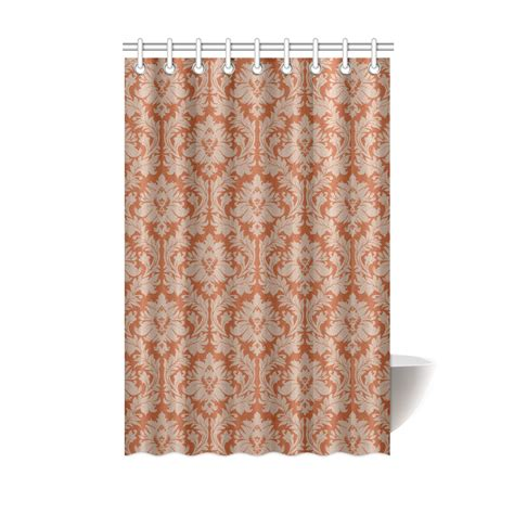 fall color curtains autumn fall colors red beige damask shower curtain 48 quot x72
