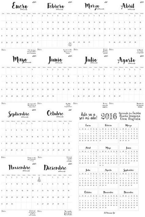 Todos Los Calendarios Calendarios Mensual Y Anual 2016 En Espa 209 Ol Imprimibles