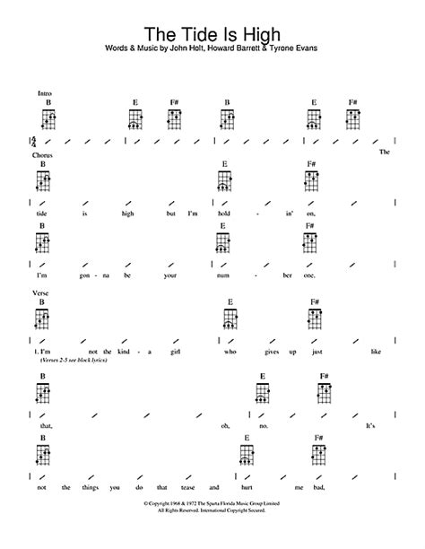 strumming pattern young volcanoes the tide is high sheet music by blondie ukulele with