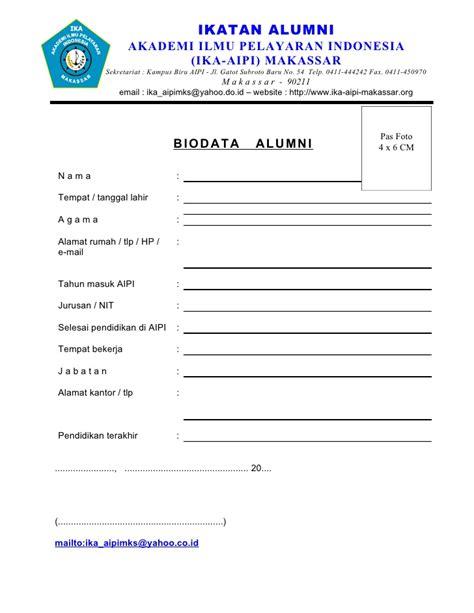 format biodata bahasa indonesia form biodata