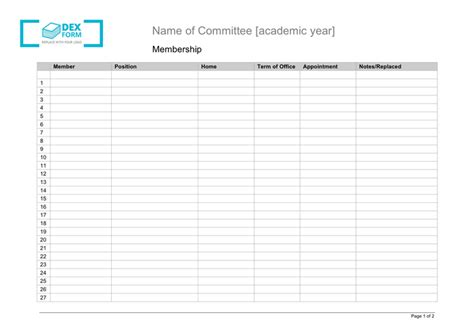 committee membership list template in word and pdf formats
