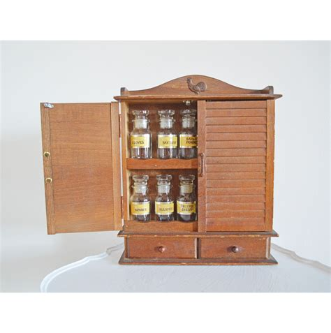 Wooden Spice Cupboard Vintage Wood Spice Cabinet 12 Glass Jars Rooster By Mothrasue