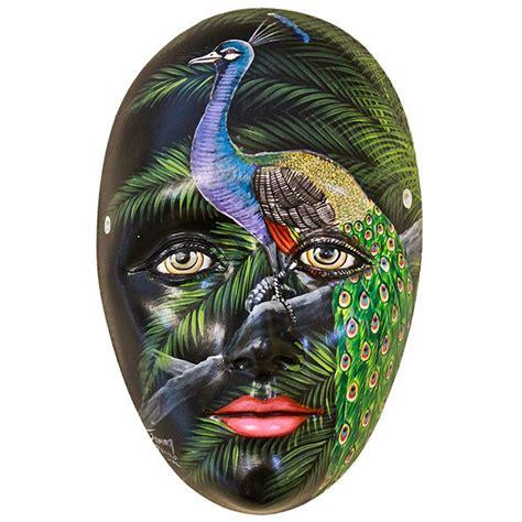 Painted Patio Furniture Ceramic Figures Peacock Mask Fam13
