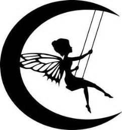 Details about die cut silhouette moon fairy on swing topper x 6 for