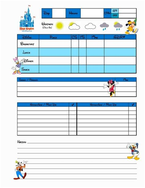 printable disney day planner free disney trip planner search results calendar 2015