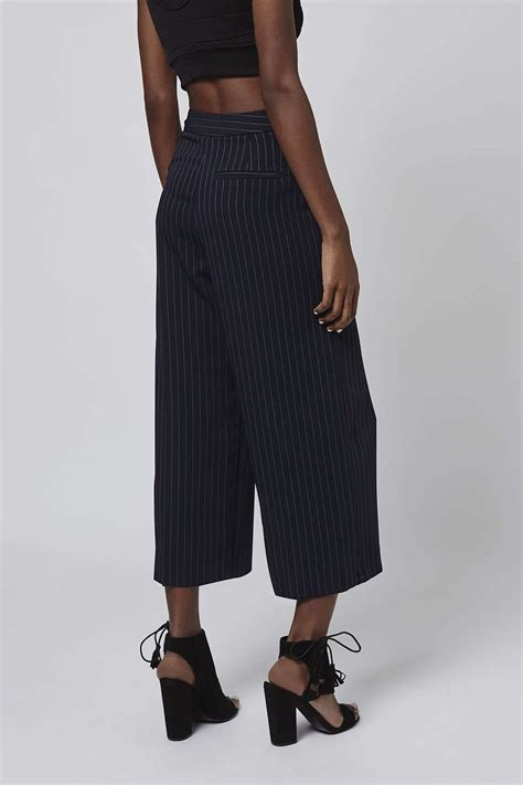 Topshops Flood Length Cropped Trouser by Topshop Wide Pinstripe Cropped Trousers In Blue Lyst