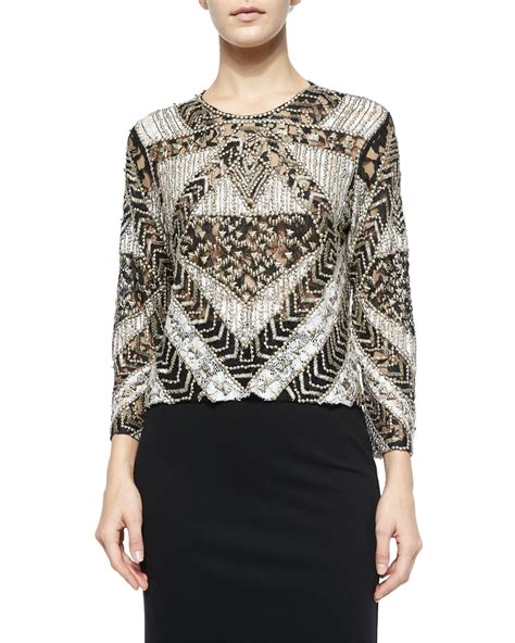 beaded top mixed lace beaded top in black lyst