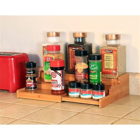 Spice Rack Steps Seville Classics 3 Tier Expandable Bamboo