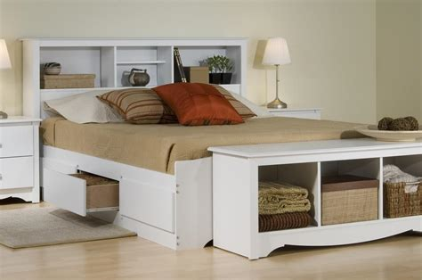 Platform Bed With Storage And Bookcase Headboard Prepac Platform Storage Bed W Bookcase Headboard By Oj