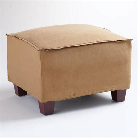 Moccasin Microsuede Luxe Ottoman Slipcover World Market Cost Plus Ottoman