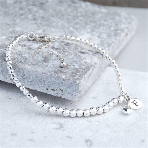 sterling silver beaded bracelet personalised sterling silver bead bracelet by penelopetom