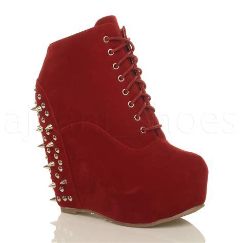womens high wedge heel platform studded spiked