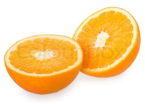 Two Halves two halves of orange isolated on white stock photo