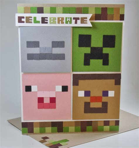 How To Make A Minecraft Birthday Card Laura S Works Of Heart Minecraft Birthday Card