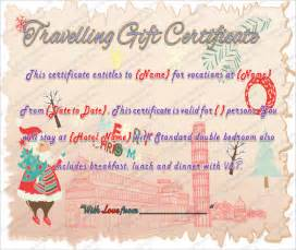 travel certificate template search results for gift certificate exle