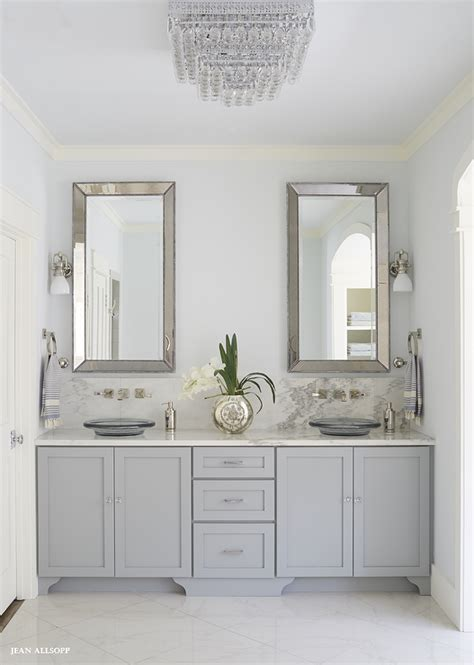 gray glass mosaic tiled backsplash transitional bathroom gray dual vanity with alabama marble countertops and