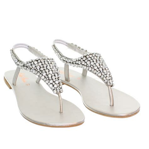 sandals for wedding womens flat diamante sparkly toe post silver wedding