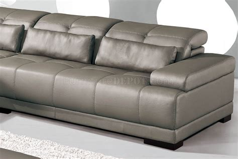 Genuine Leather Sectional Sofa Grey Genuine Leather Sectional Sofa W Adjustable Headrests