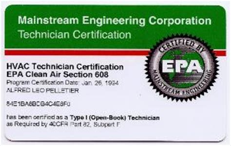 epa section 608 certification image gallery epa 608 card