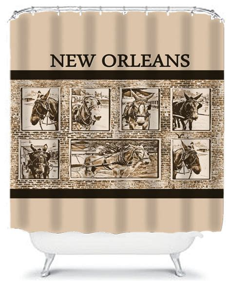 new orleans curtains new orleans mules sepia shower curtain traditional