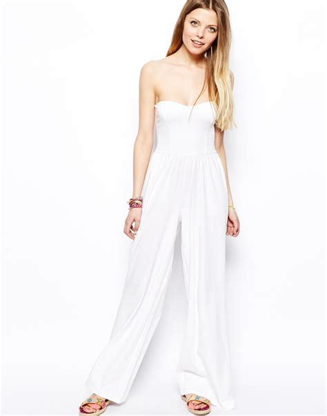 Yumico 3 In 1 Jumpsuit asos bandeau jumpsuit with wide leg in white lyst