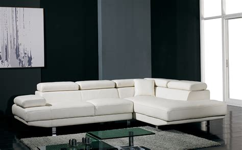 White Leather Contemporary Sofa T60 Ultra Modern White Leather Sectional Sofa Modern Sofas Living Room