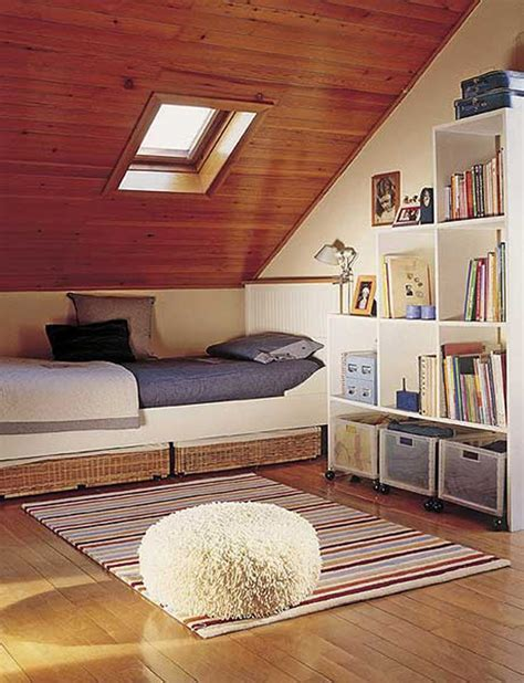 attic space ideas cute attic bedroom design with single size bed in green
