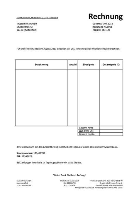 Musterrechnung Schweiz Pflichtangaben Auf Einer Rechnung