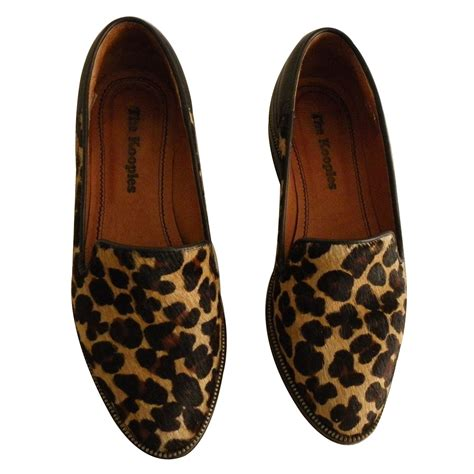 the kooples slippers the kooples flats flats leather leopard print ref 13916