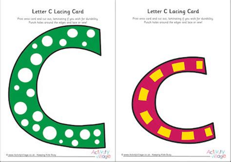 Alphabet Lacing Cards Templates by Letter C Lacing Card