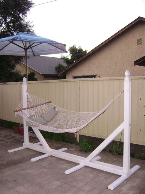 backyard hammock stand fancy white diy hammock chair stand on backyard with blue parasol
