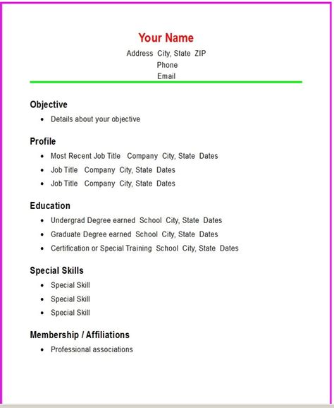 Easy Simple Resume Template by Simple Resume Sles Template Resume Builder