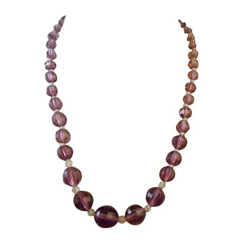 purple amethyst glass necklace faceted