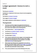 lodger agreement template rent a room in your house or flat