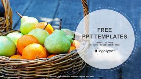 food powerpoint templates free fresh fruit basket food ppt templates