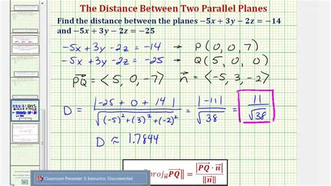 ex find the distance between two parallel planes