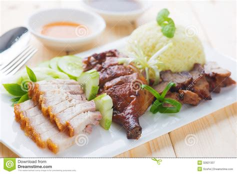 Simple Duck And Char Siu Rice by Roasted Duck Roasted Pork Crispy Siu Yuk And Charsiu