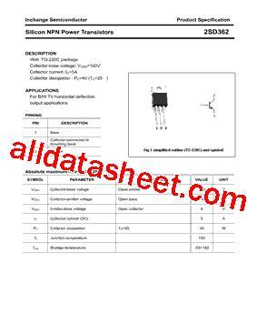 transistor company 2sd362 datasheet pdf inchange semiconductor company limited