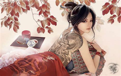anime girl tattoo wallpaper tattooed anime girl wallpapers 1920x1200 622115