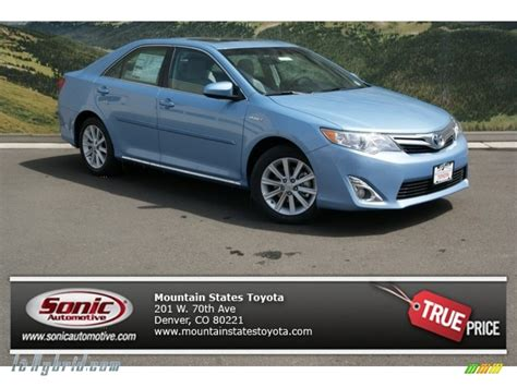 light blue toyota camry 2013 toyota camry hybrid xle in clearwater blue metallic