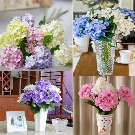 home decor artificial flowers artificial hydrangea bouquet silk flowers leaf wedding
