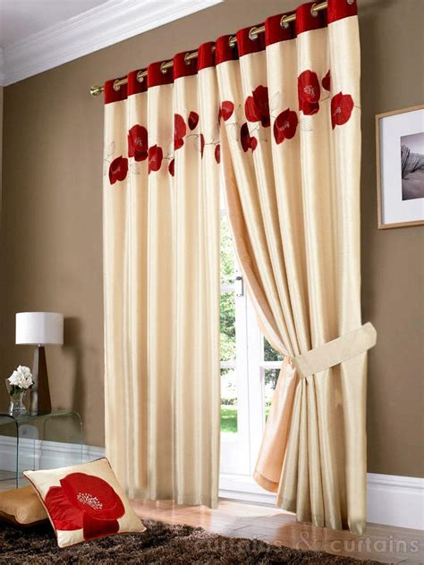 poppy curtains golden cream red poppy ring top eyelet curtain red