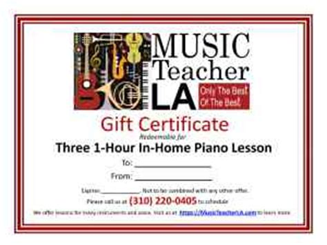 Music Lessons Gift Certificates   Piano, Voice, Violin & more!