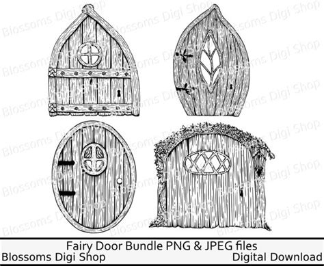 fairy door coloring page fairy door bundle gnome png digital download hand drawn